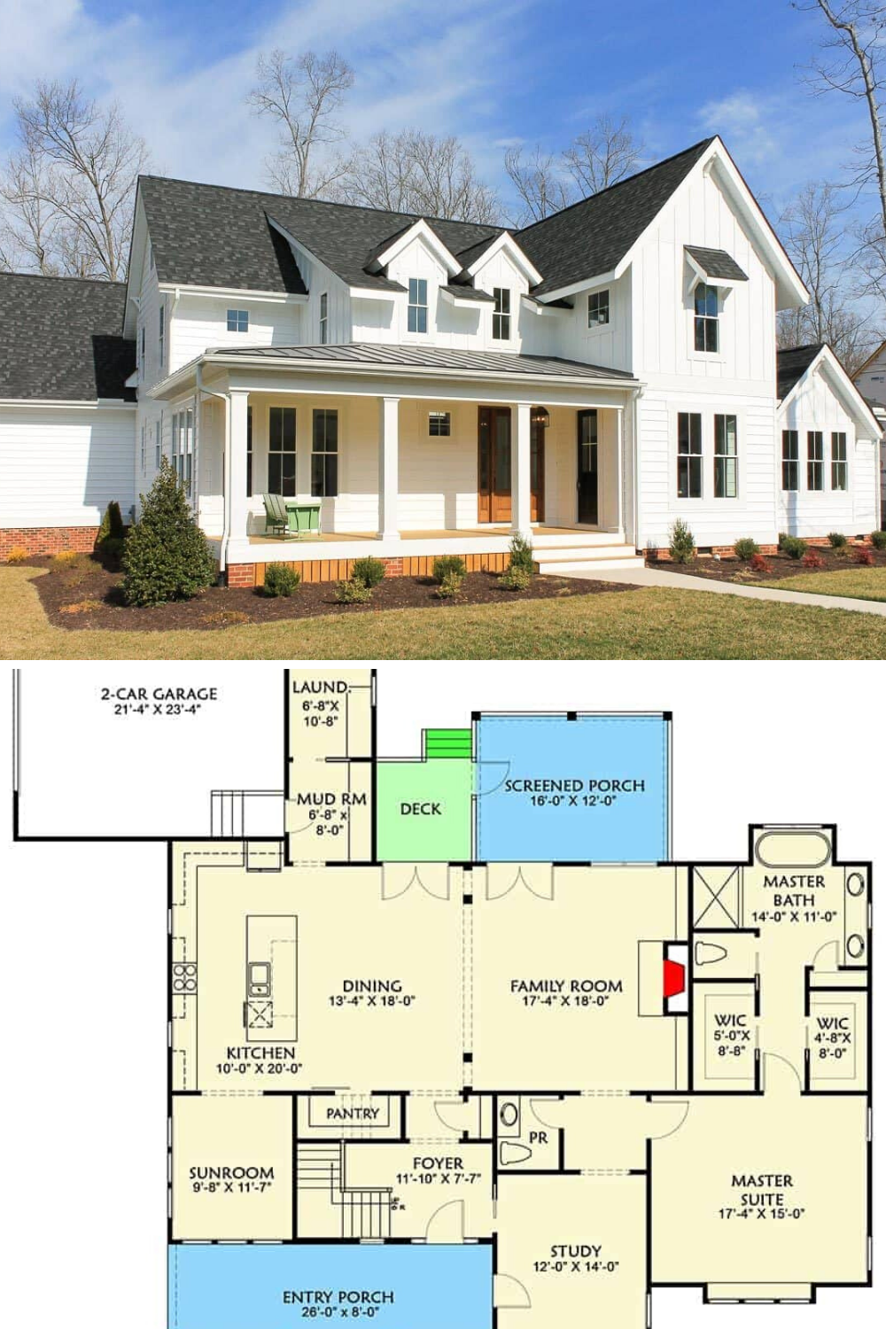 4 Bedroom Two Story Farmhouse With Open Floor Plan Floor Plan Farmhouse Style House Plans Craftsman House Plans Porch House Plans