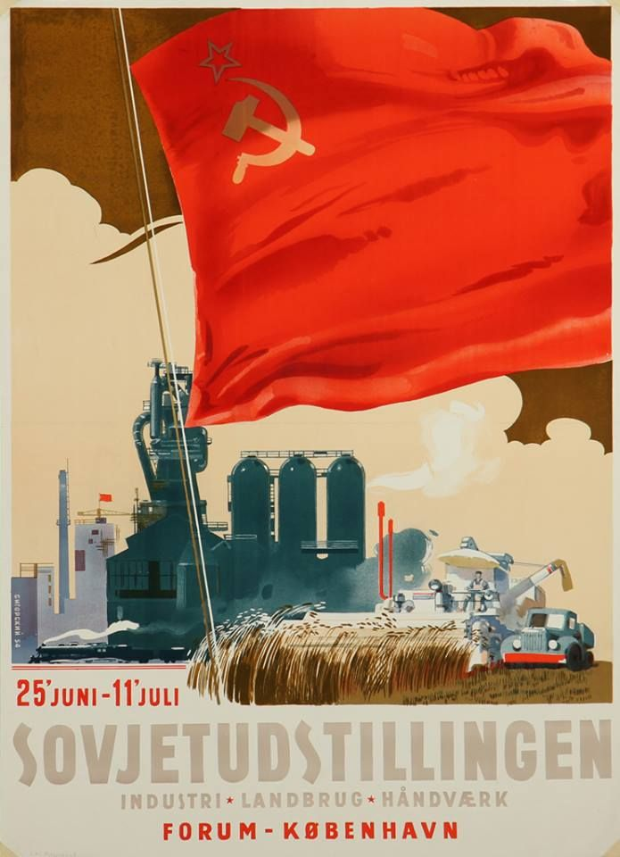 Danish Poster Soviet Exhibition Industry Agriculture