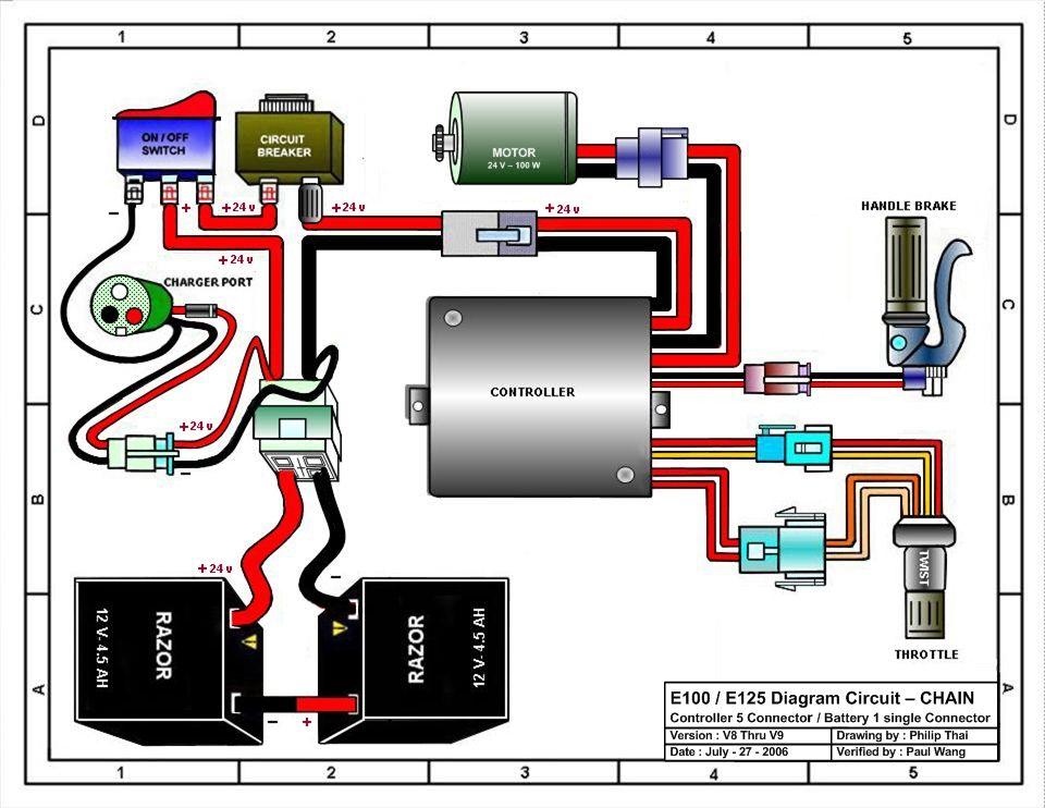 Razor E100 And E125 Wiring Diagram Version Diagram Circuit Controller 5 Connector Or Battery 1