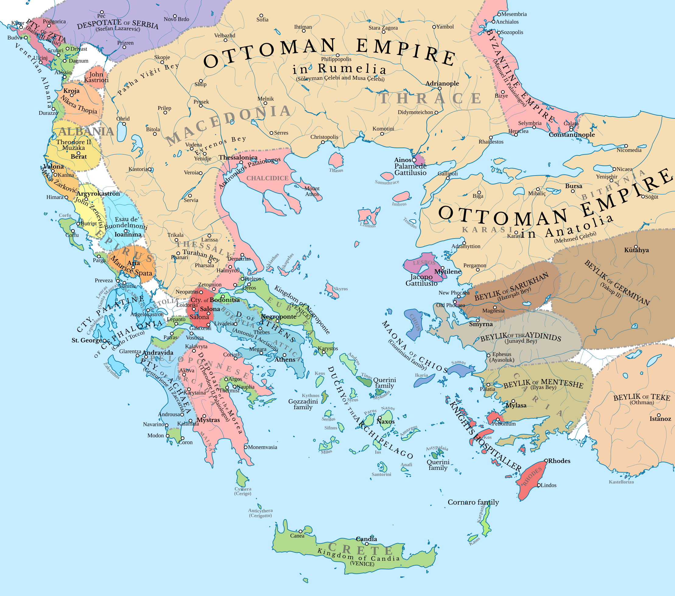 Map Of The Southern Balkans And Western Anatolia In 1410