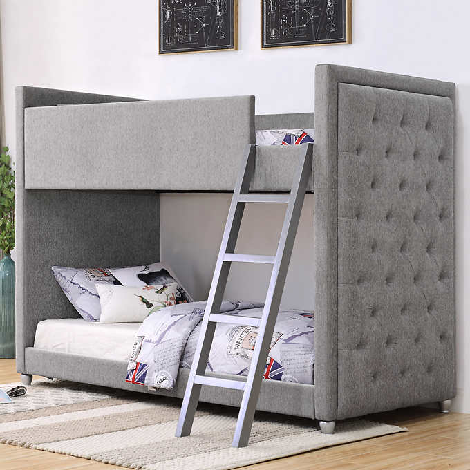 Silhouette Upholstered Bunk Bed Grey In 2020 Bunk Beds Bed
