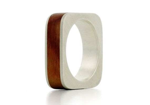 OMG beautiful! The 'Square' Silver and Wood Ring by Shiruba Tree by ShirubaTree, £142.00