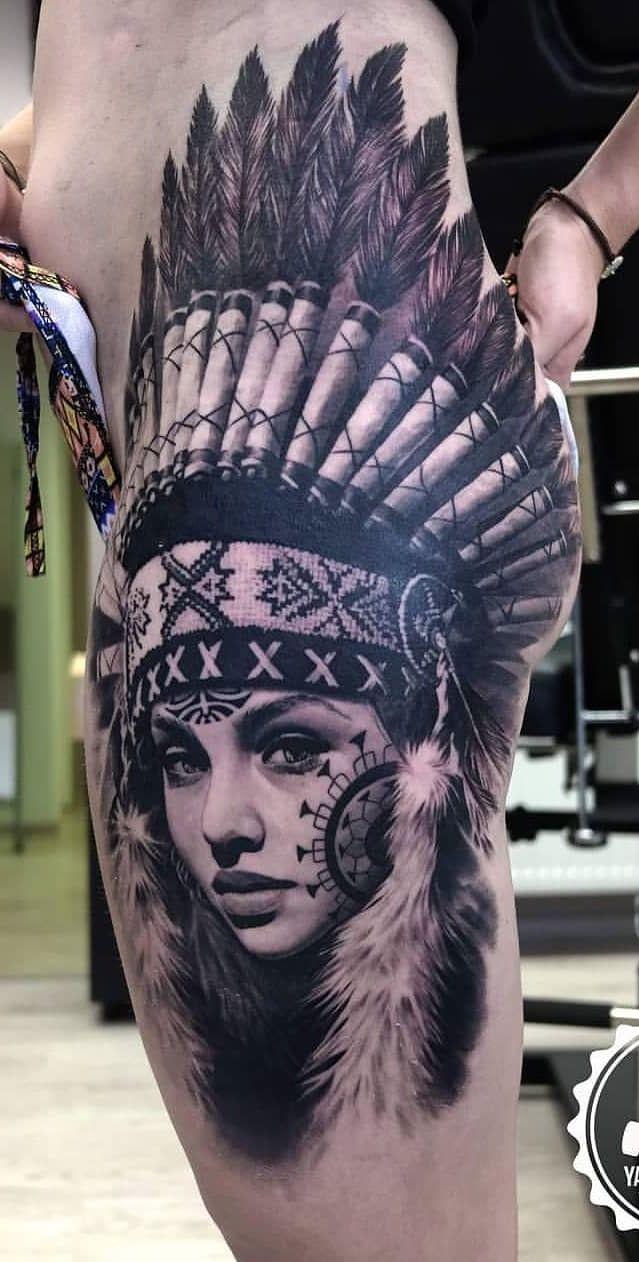Tatuagens De índia Feminina Na Coxa Tatuagem Coxa