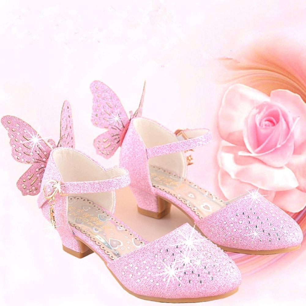 Girls Sandals Rhinestone Butterfly Kids Shoes High Heel Princess Shoes Glitter