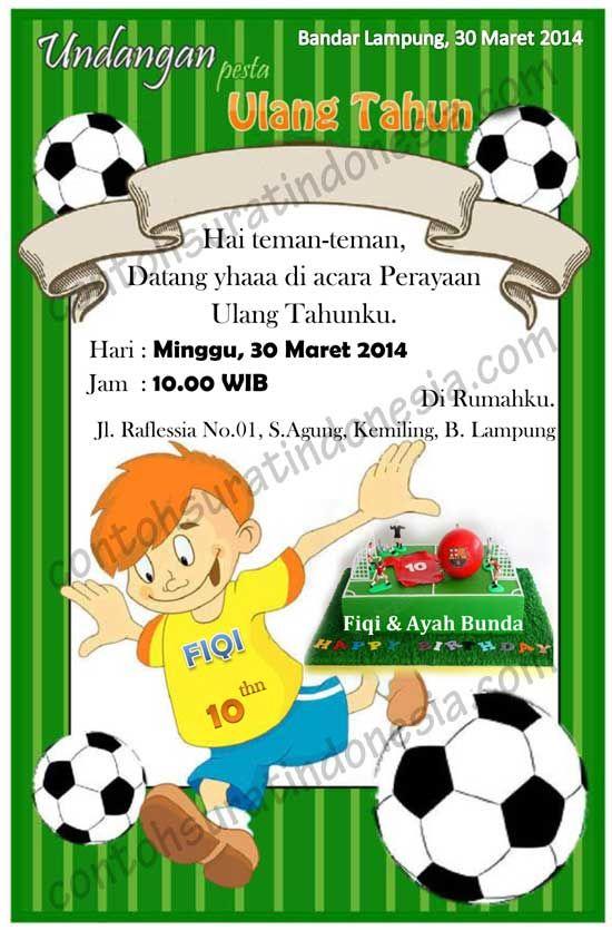 Contoh Undangan Ulang Tahun Anak Laki-laki tema Sepak Bola ...