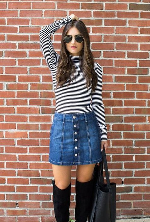 0034f15212 29 Fabolous Denim Skirt Outfits For This Autumn | everyday | Fashion ...