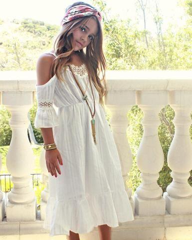 acd63b966223 Girls White Over the Shoulder Bohemian Style Dress, Toddlers, Girls Boho Summer  Dress,