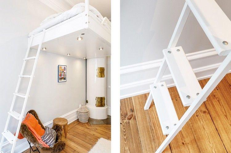 Holz Etagenbett Für Erwachsene : Weiß lackiertes hochbett mit eingebauten leuchten u2026 interieur pinteu2026