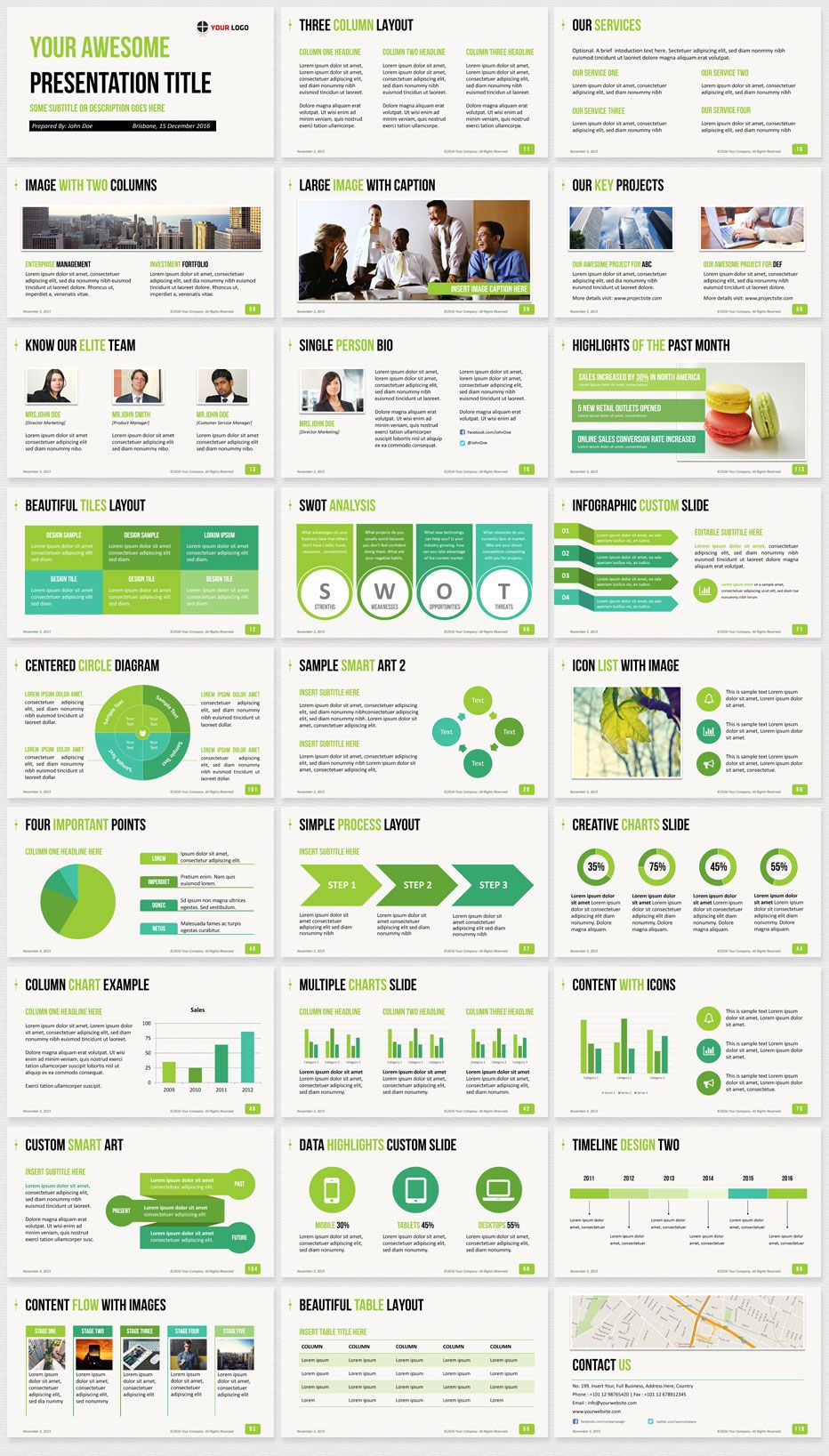 Business PowerPoint Template Green preview | Work | Business