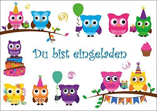 5 lustige eulen-einladungskarten (10645) zum kindergeburtstag oder, Einladungen
