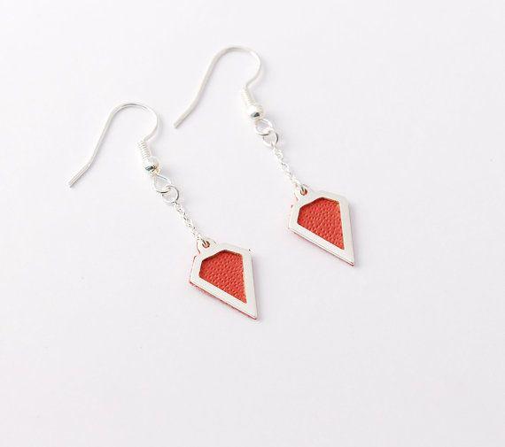 Coral leather diamond earrings  triangle earrings by Sarayana