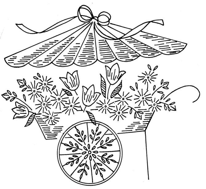 carts embroidery or redwork | Hand Embroidery: Flower Baskets ...