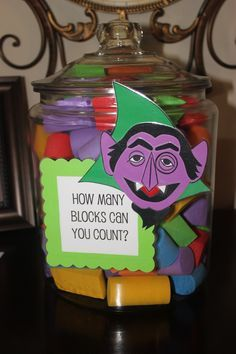 Sesame Street Party Game How Many Blocks In The Count S Jar Sesame Street Birthday Party Elmo Birthday Party Sesame Street Birthday