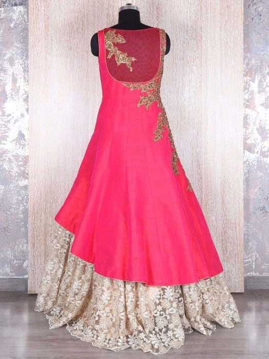 Shop Magenta silk lace designer gown online from G3fashion India ...