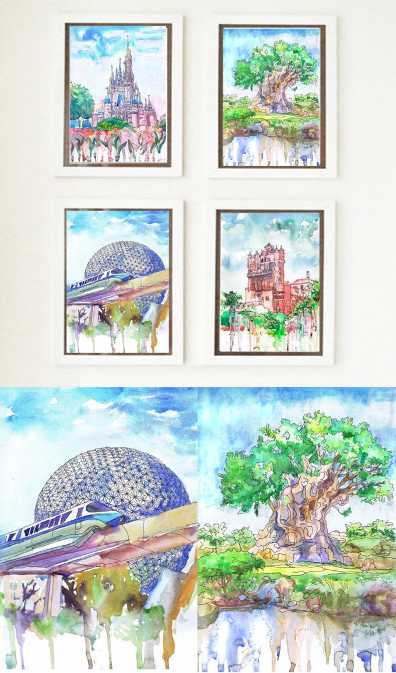 Walt's World four Theme Parks Watercolor Painting