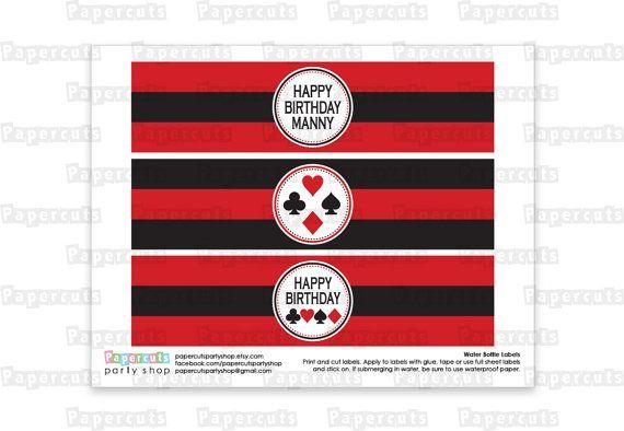 Imprimible DIY rojo y negro Casino Night por PapercutsPartyShop