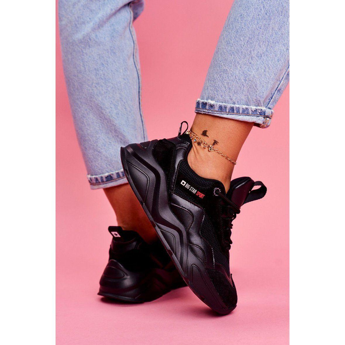 Damskie Sportowe Obuwie Sneakersy Big Star Czarne Ff274959 Bow Sneakers Sneakers Shoes