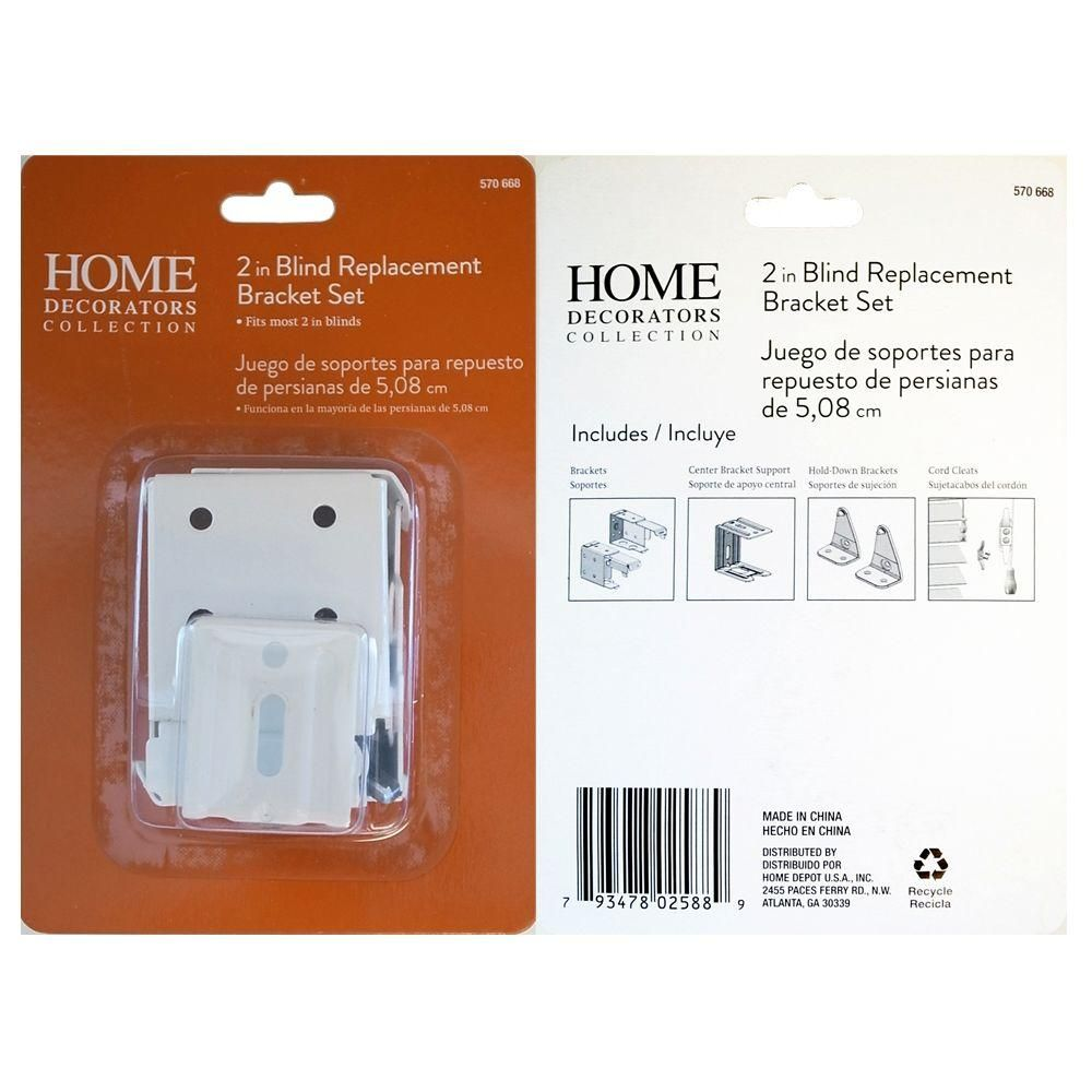 Home Decorators Collection 2 In Cordless Faux Wood Blind Replacement Bracket Set In White 10793478403059 The Home Depot Faux Wood Blinds Faux Window Faux Wood