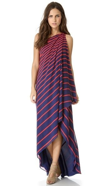 it's hard to find banded threads that are appropriate for more than a day at sea, however, this one-shoulder stunner from halston heritage has earned its formal stripes.