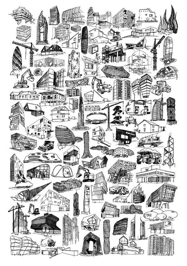 Architectures By Piotrek Chuchia Architecture Sketch Architecture Poster Architecture Concept Drawings