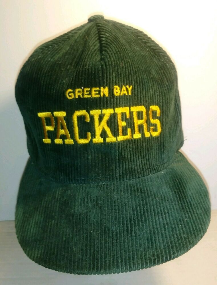 5f14172a Vintage Green Bay Packers Corduroy Snap Back Hat gold lettering AJD ...