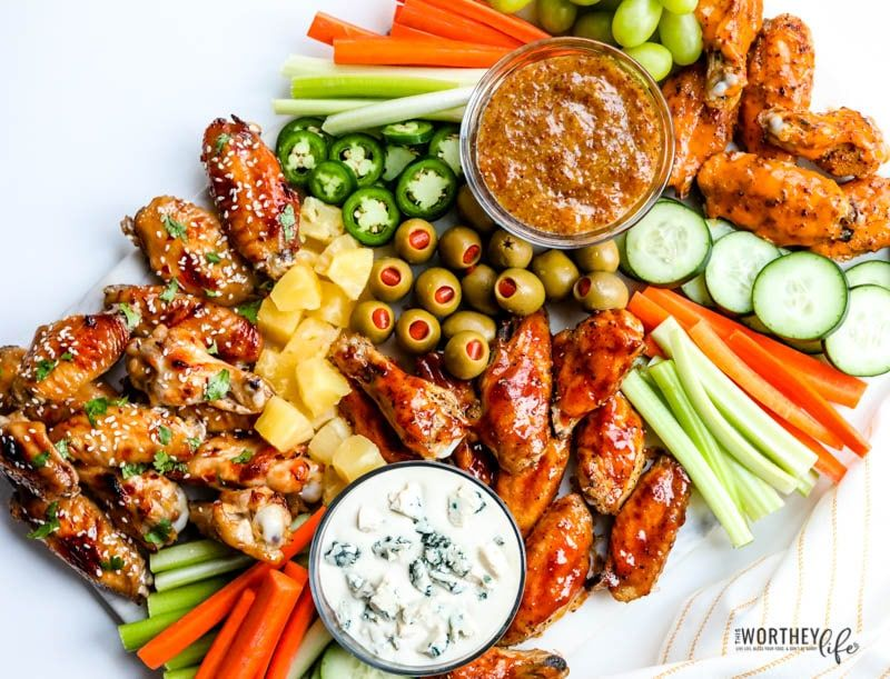 Chicken Wings Grazing Board - Great For Game Day + Parties!