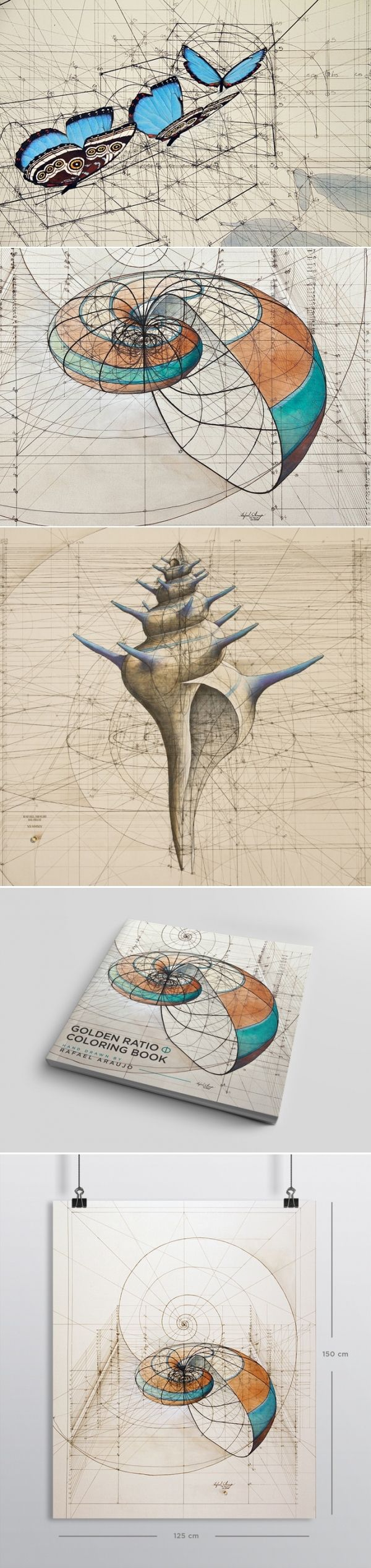 Omg This Is Amazing The Best Coloring Book Golden Ratio Coloring Book By Rafael Araujo Geometry Art Art Design Geometric Art