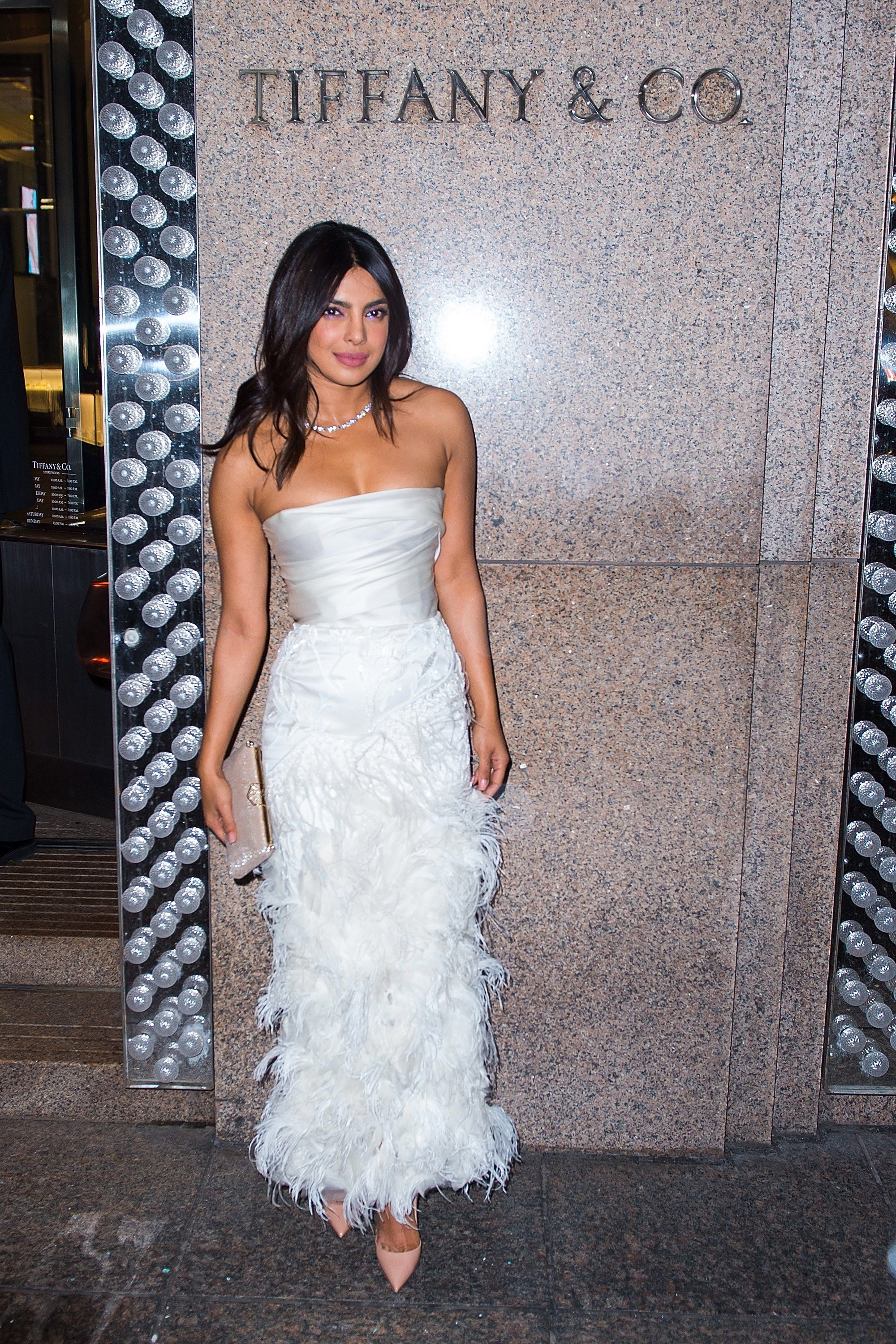 Priyanka Chopra Wore a Feathered Dress by Georges Chakra for Her Bachelorette Party