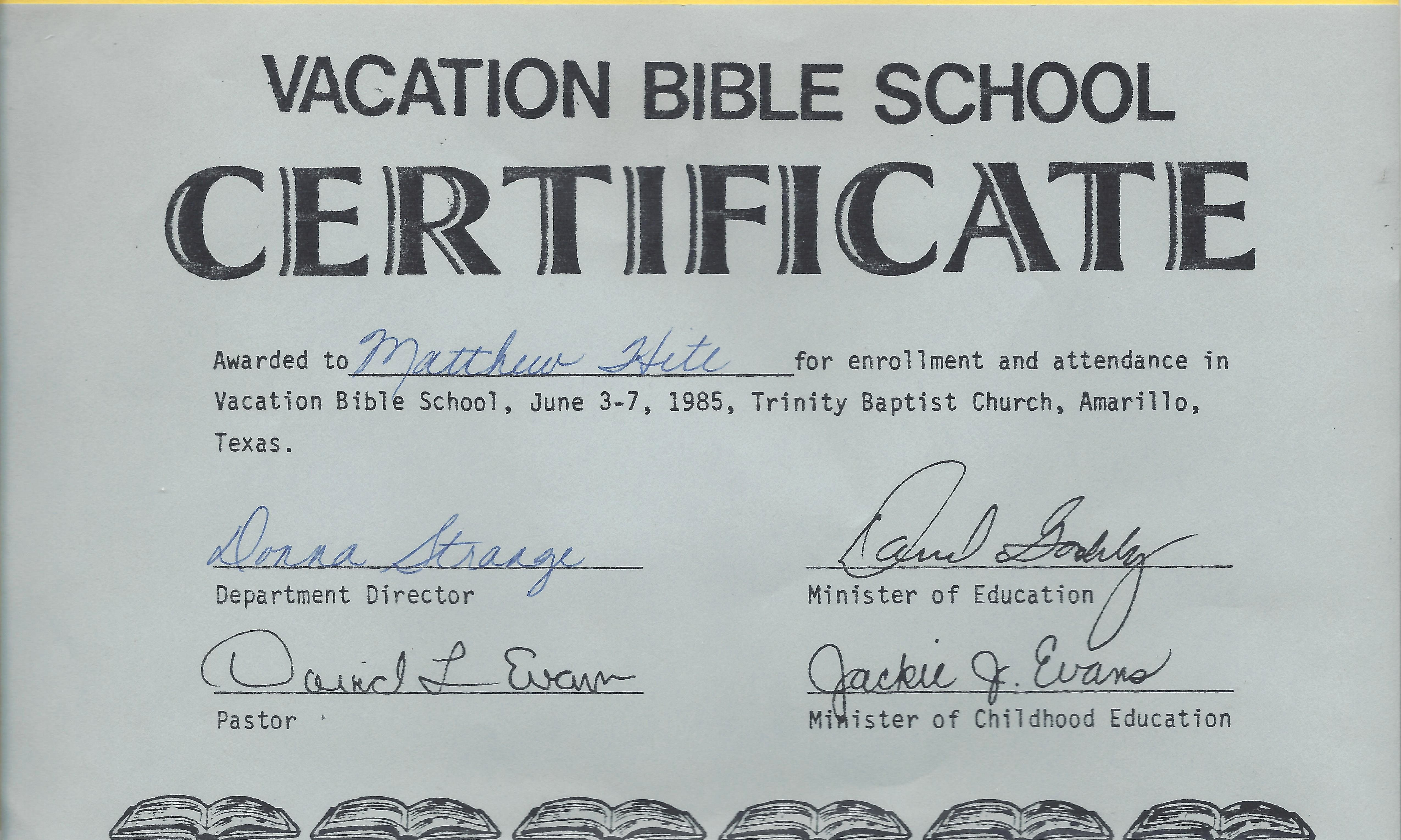 Printable Vacation Bible School Certificates Awesome