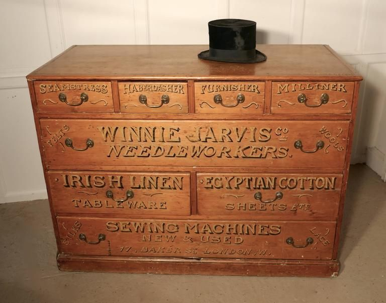 Victorian Pine Painted Haberdashers Shop Cabinet