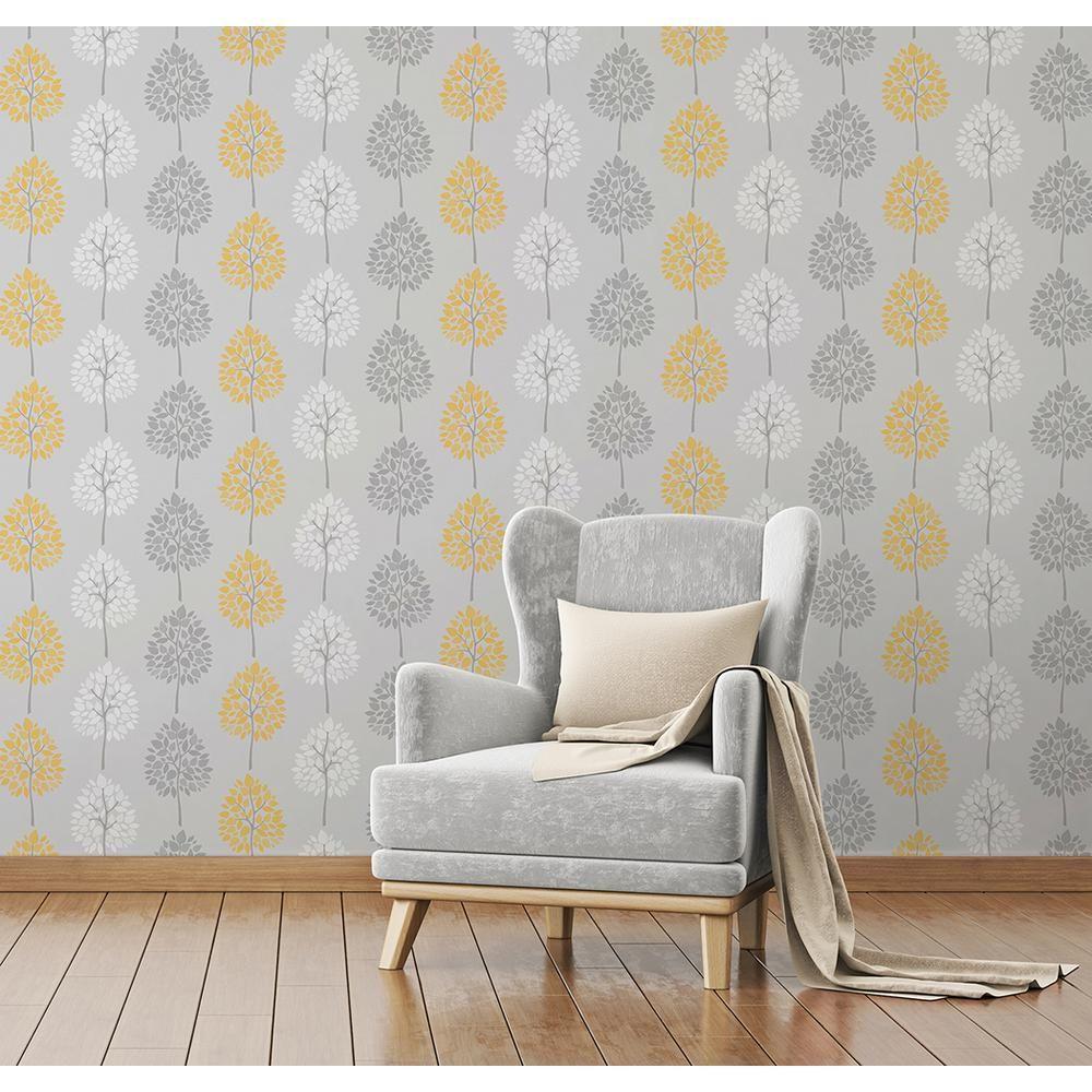 56.4 sq. ft. Alder Grey Tree Wallpaper Wallpaper living