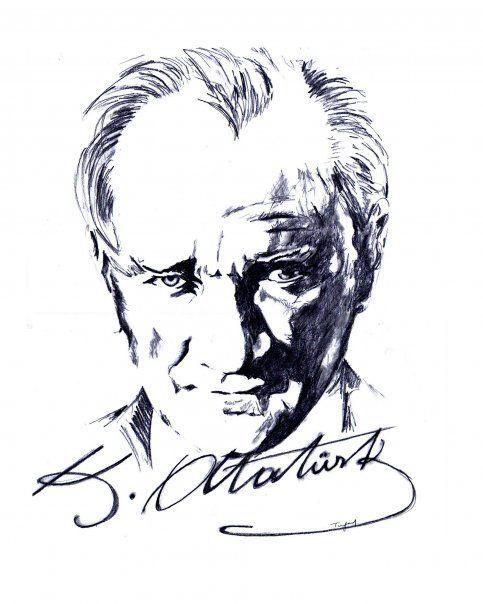Ataturk Karakalem Cizimi Cizimler Cizim Fikirleri Cizim
