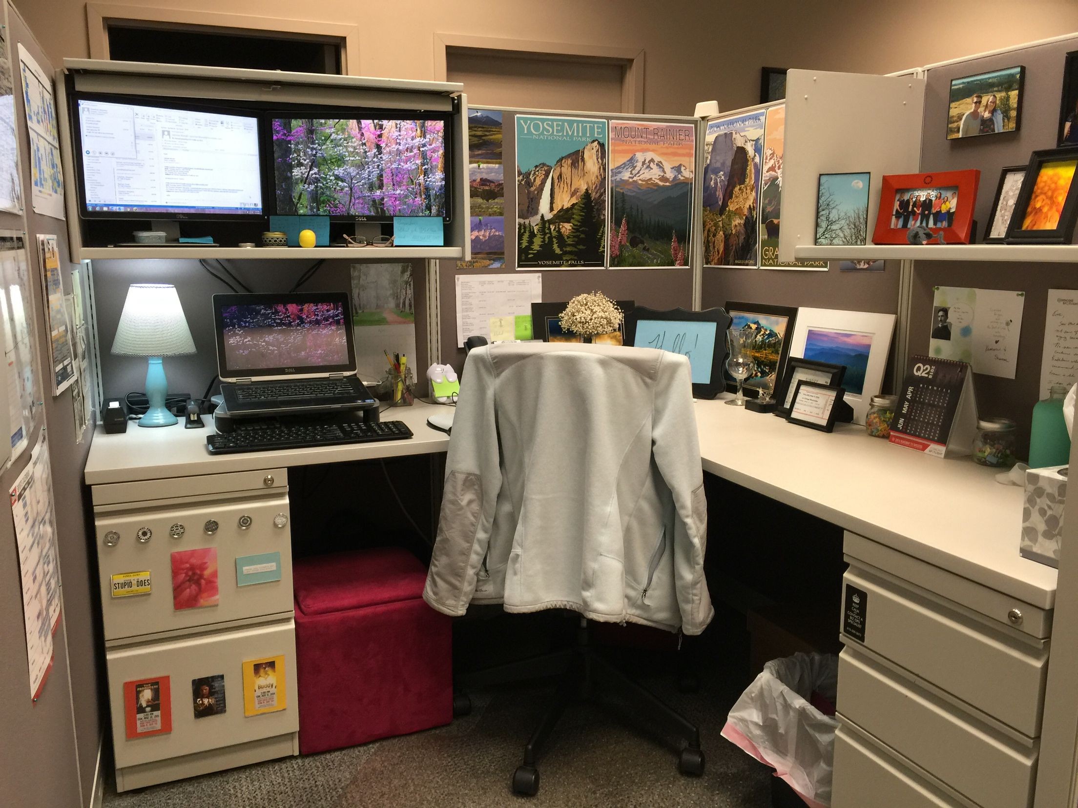 Cubicle Décor Ideas To Make Your Home Office Pop: Used The Overhead Storage In My Cube To Create My Own