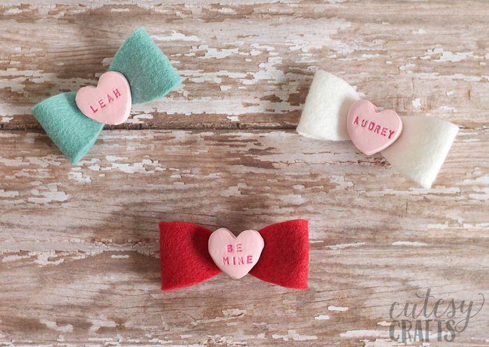 Clay Conversation Heart DIY Hair Bows - Cutesy Crafts