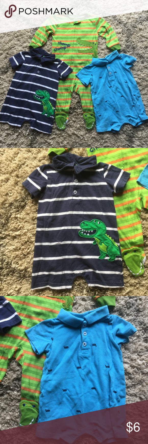 3 pieces, 12 month size Blue and white striped collared shorts one piece with snaps at the bottom, buttons at the top by Carter's. Blue collared shorts one piece with whale's, snaps at bottom, buttons at top by Carter's.  Green and orange striped footie one piece with zipper by Babies r Us. Bottoms Jumpsuits & Rompers