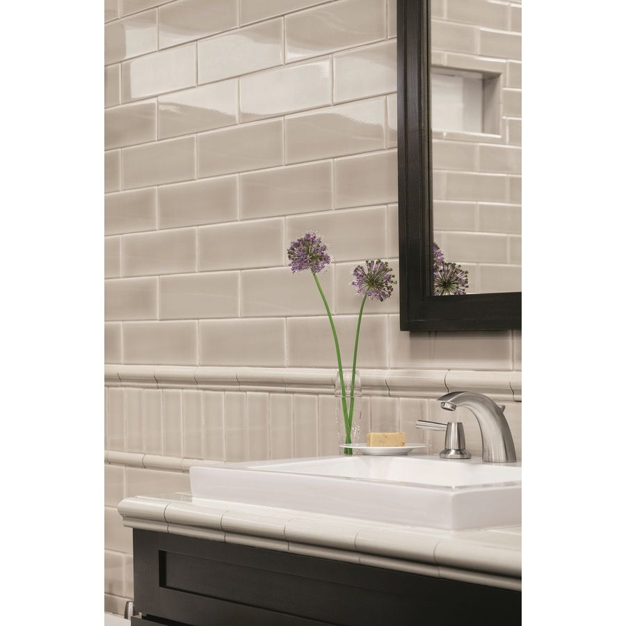 Shop allen + roth 8-Pack Pearl Ceramic Wall Tiles (Common ...