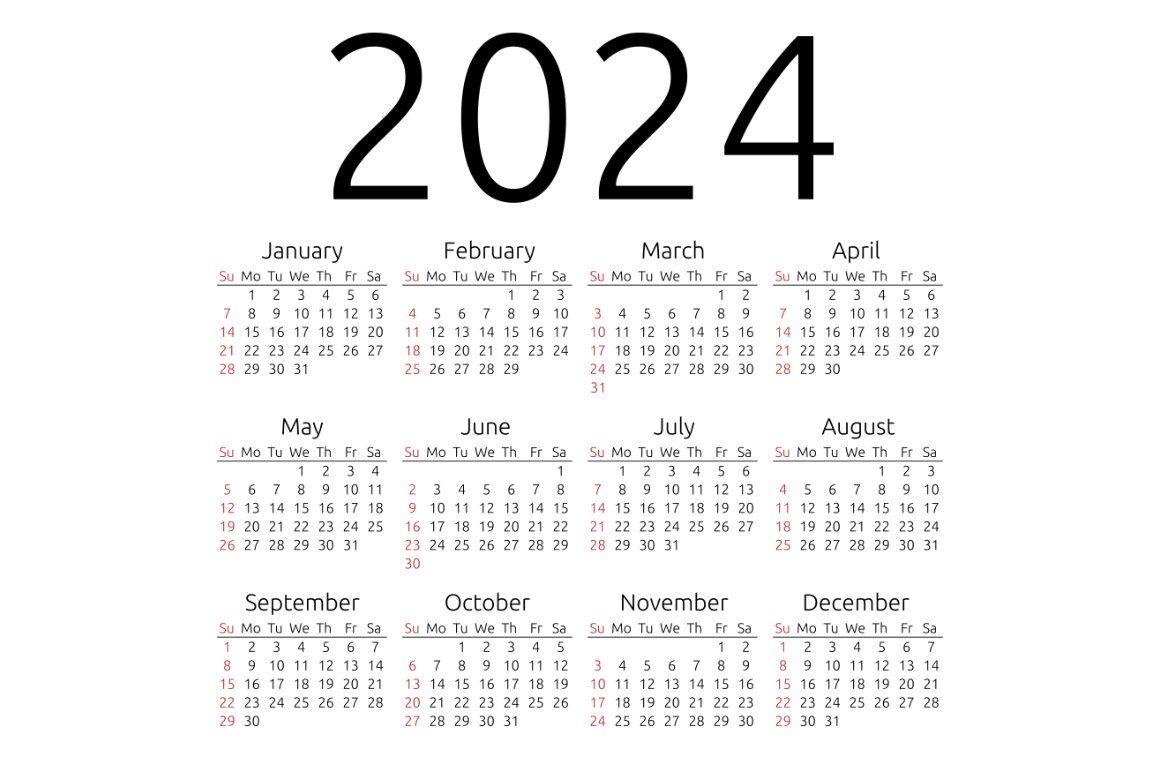 Vector calendar 2024, Sunday | Calendar template ...