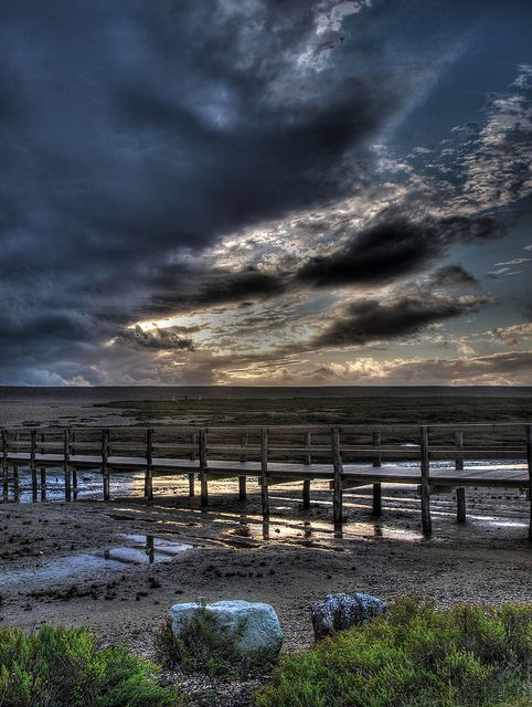 Brooding skies and walkway...Chesil Beach.