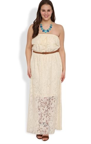 plus size crochet lace maxi dress with belted waist and