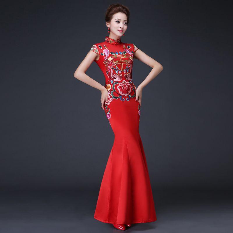 Red Bride Wedding Qipao Long Cheongsam Dress Chinese Traditional ...