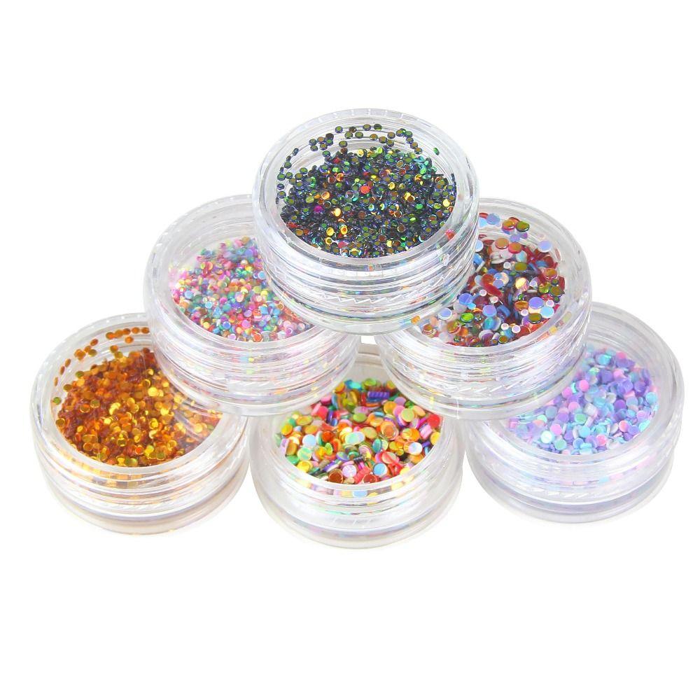 1 satz 6 Farbe Neues Design Runde Form Nagel Glitter Pulver Staub 3D ...