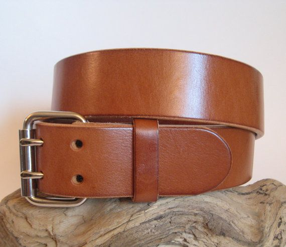 BLACK DOUBLE PRONG BUCKLE CUSTOM MADE GENUINE LEATHER BELT 1 3/4'' WIDE