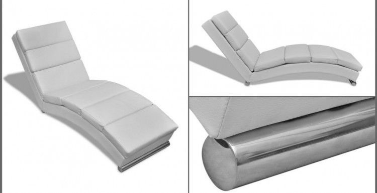 white chaise lounge sofa leather seat chair spa home lounger room modern