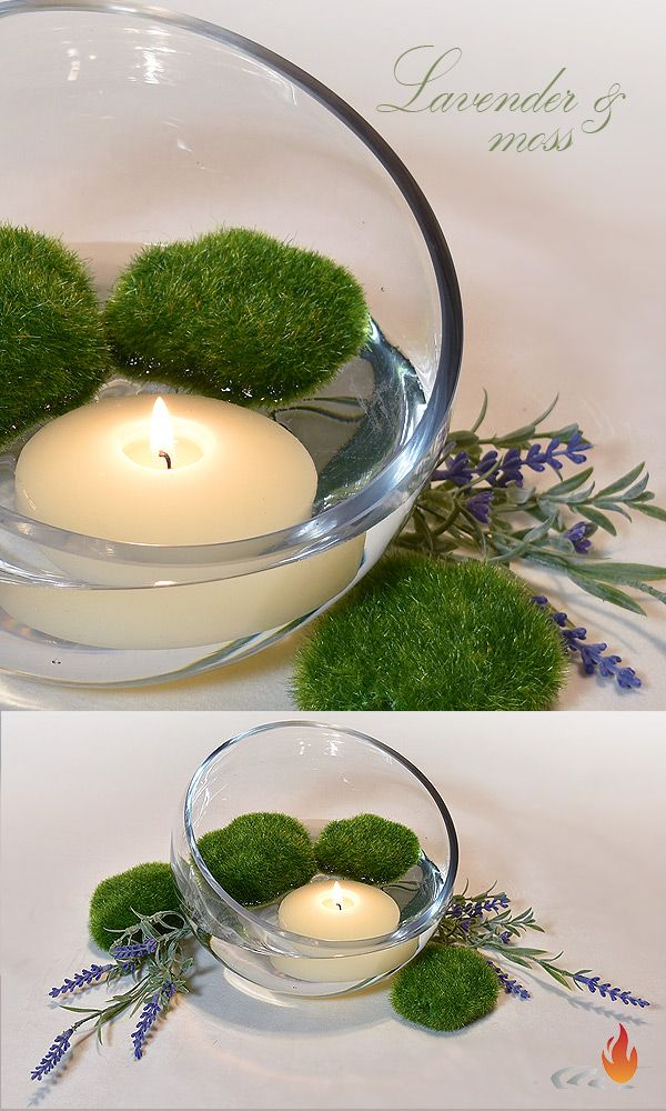 lavender moss floating candle centerpiece awesome
