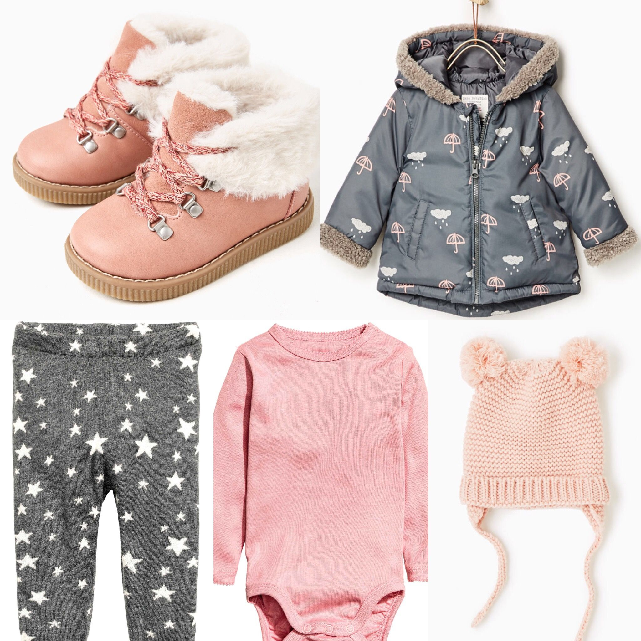 Baby girl outfit idea. Zara pink boots, pink hat, grey coat. H&M