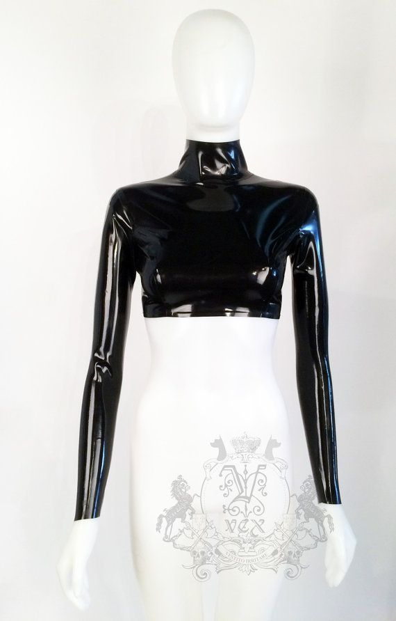 1ef4be9a41e813 Long sleeve latex rubber Crop Top by Vex Clothing AS SEEN ON Kylie Jenner