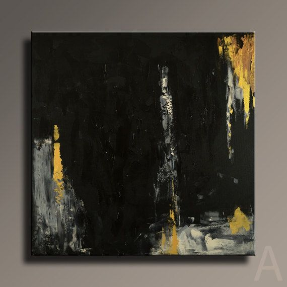 Extra Large Abstract Painting Black Gold Gray Set By Art70studio