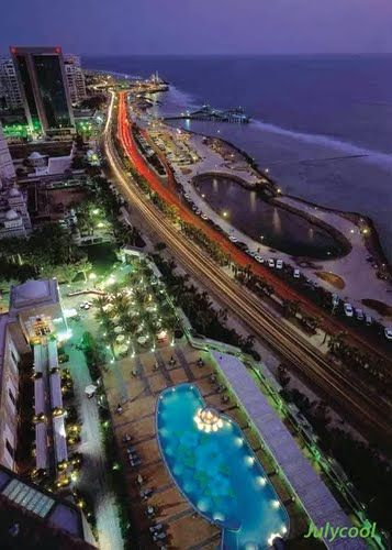 Panoramio Photo Of Jeddah Red Sea Sunset At Cornich Overview Jeddah Dammam Jeddah Saudi Arabia