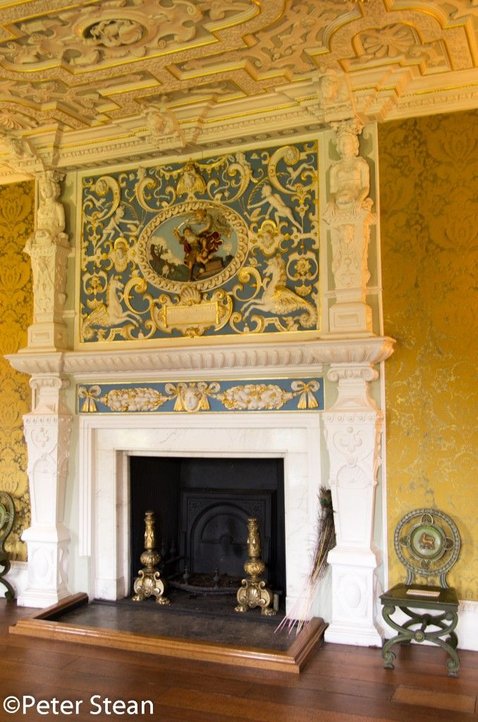 Manor House Drawing: The Extravagant Fireplace In The State Drawing Room At