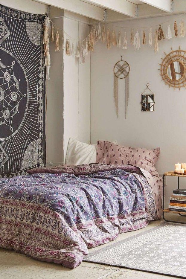 Schlafzimmer Ideen Im Boho Stil_passende Wandgestaltung Und Schlafzimmer  Dekoration Für Boho Chic Style